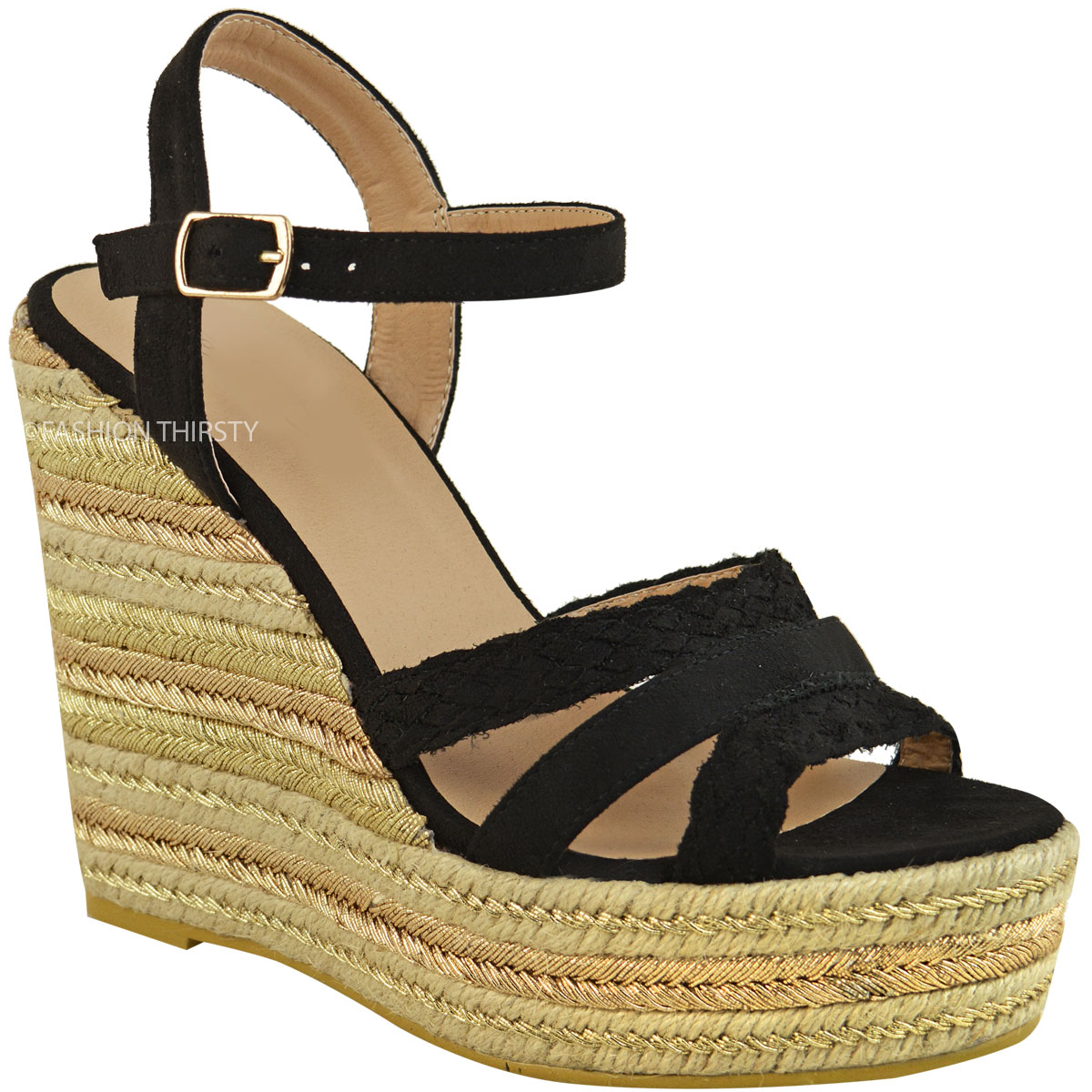 Womens Ladies Gold Metallic Espadrille Platform Wedges ...