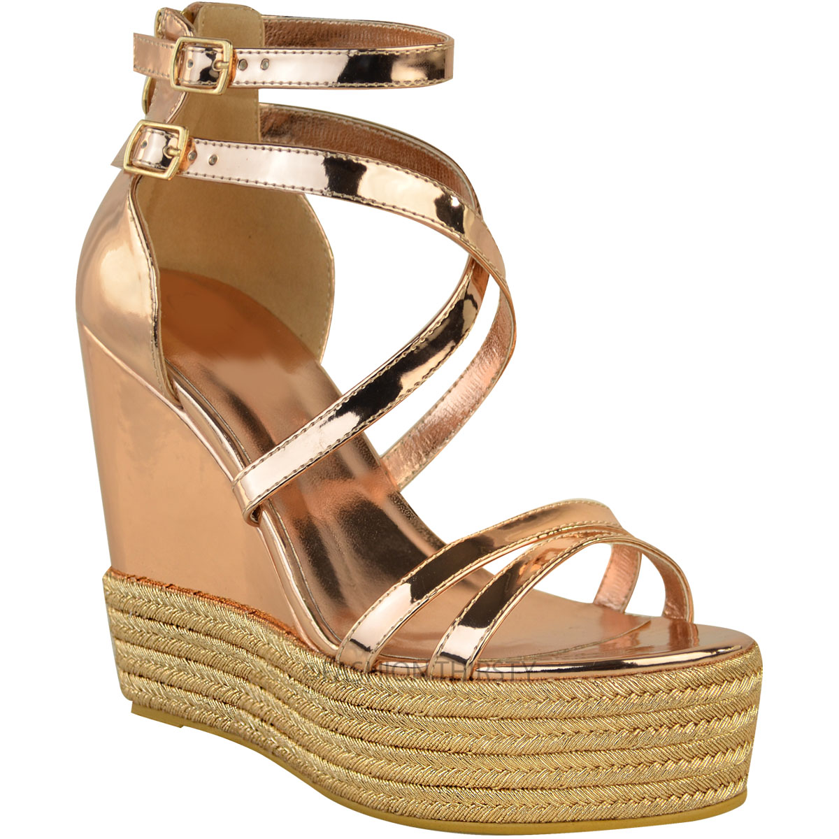 New-Womens-Ladies-Wedge-Espadrille-Sandals-Strappy-Rose-Gold-Summer-Shoes-Size thumbnail 3