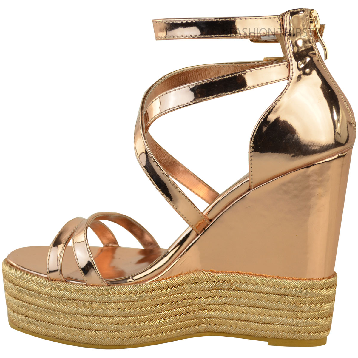 New-Womens-Ladies-Wedge-Espadrille-Sandals-Strappy-Rose-Gold-Summer-Shoes-Size thumbnail 5