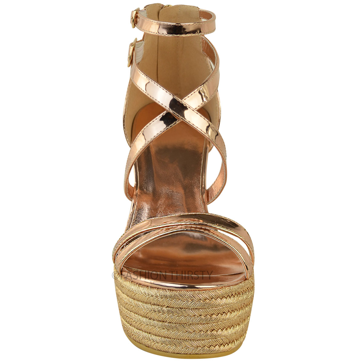 New-Womens-Ladies-Wedge-Espadrille-Sandals-Strappy-Rose-Gold-Summer-Shoes-Size thumbnail 6