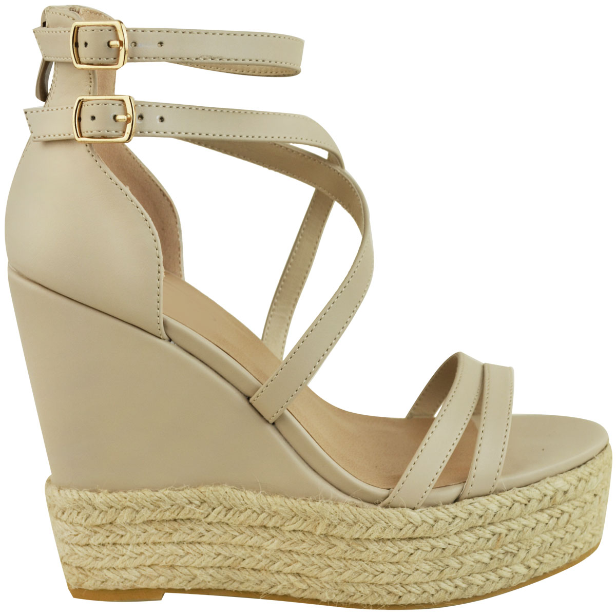 New-Womens-Ladies-Wedge-Espadrille-Sandals-Strappy-Rose-Gold-Summer-Shoes-Size thumbnail 19