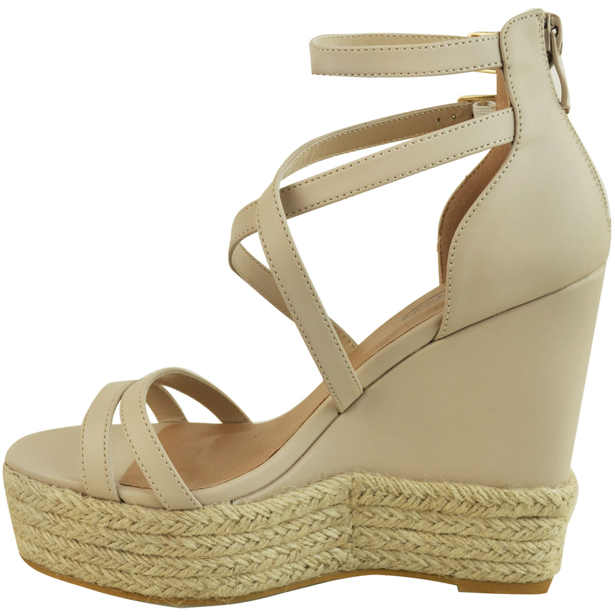 New-Womens-Ladies-Wedge-Espadrille-Sandals-Strappy-Rose-Gold-Summer-Shoes-Size thumbnail 20