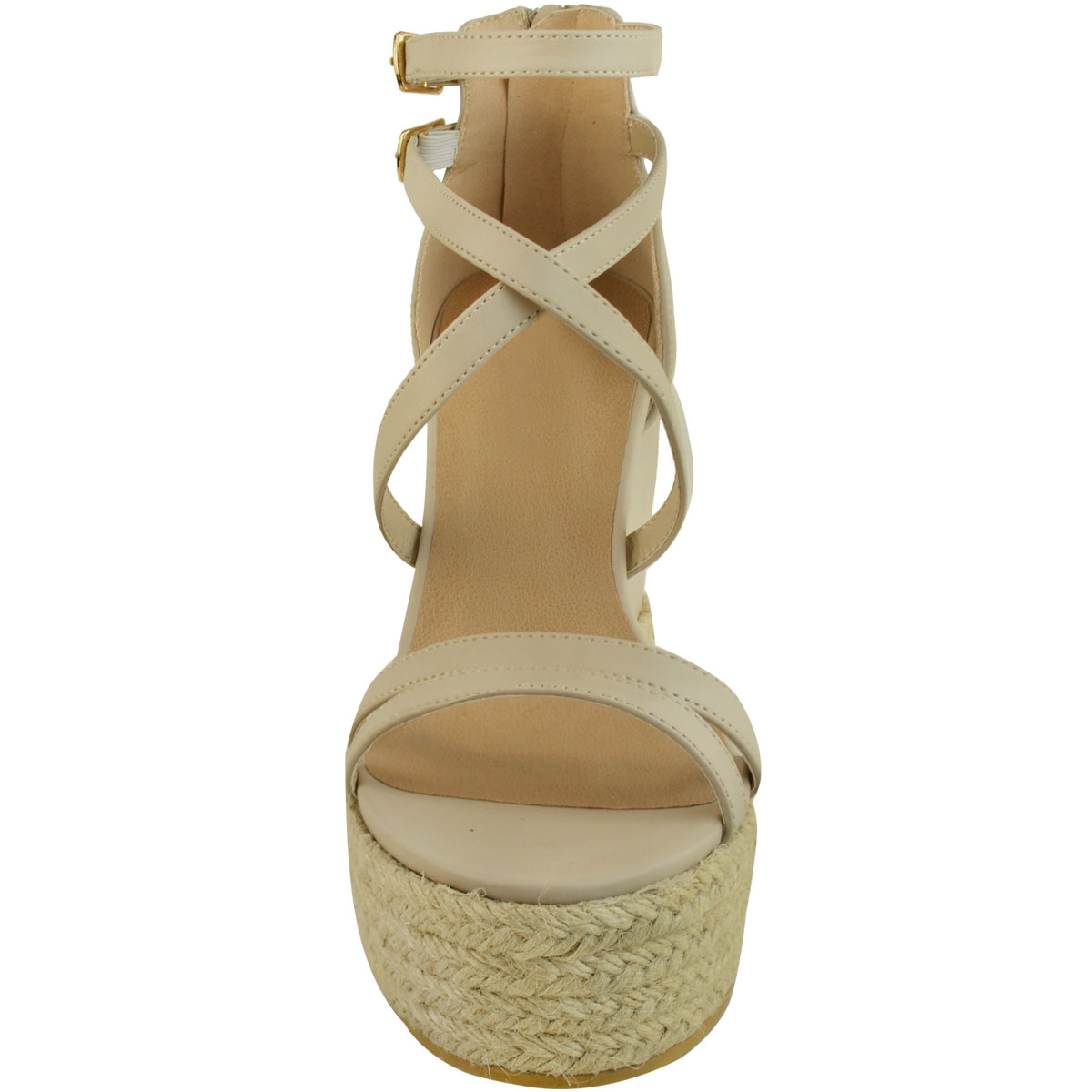 New-Womens-Ladies-Wedge-Espadrille-Sandals-Strappy-Rose-Gold-Summer-Shoes-Size thumbnail 21