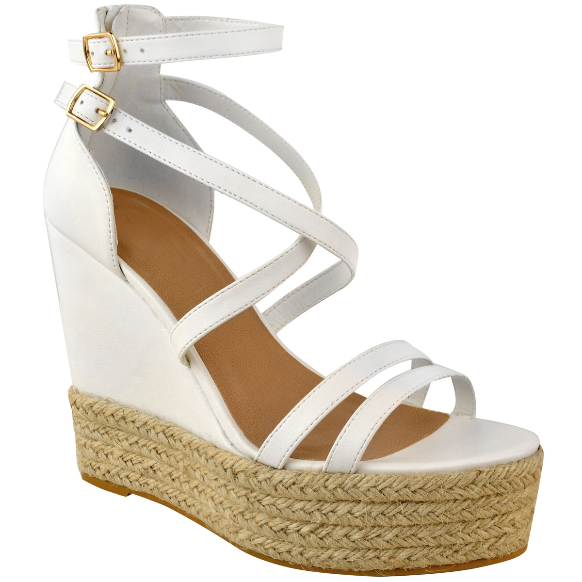New-Womens-Ladies-Wedge-Espadrille-Sandals-Strappy-Rose-Gold-Summer-Shoes-Size thumbnail 13