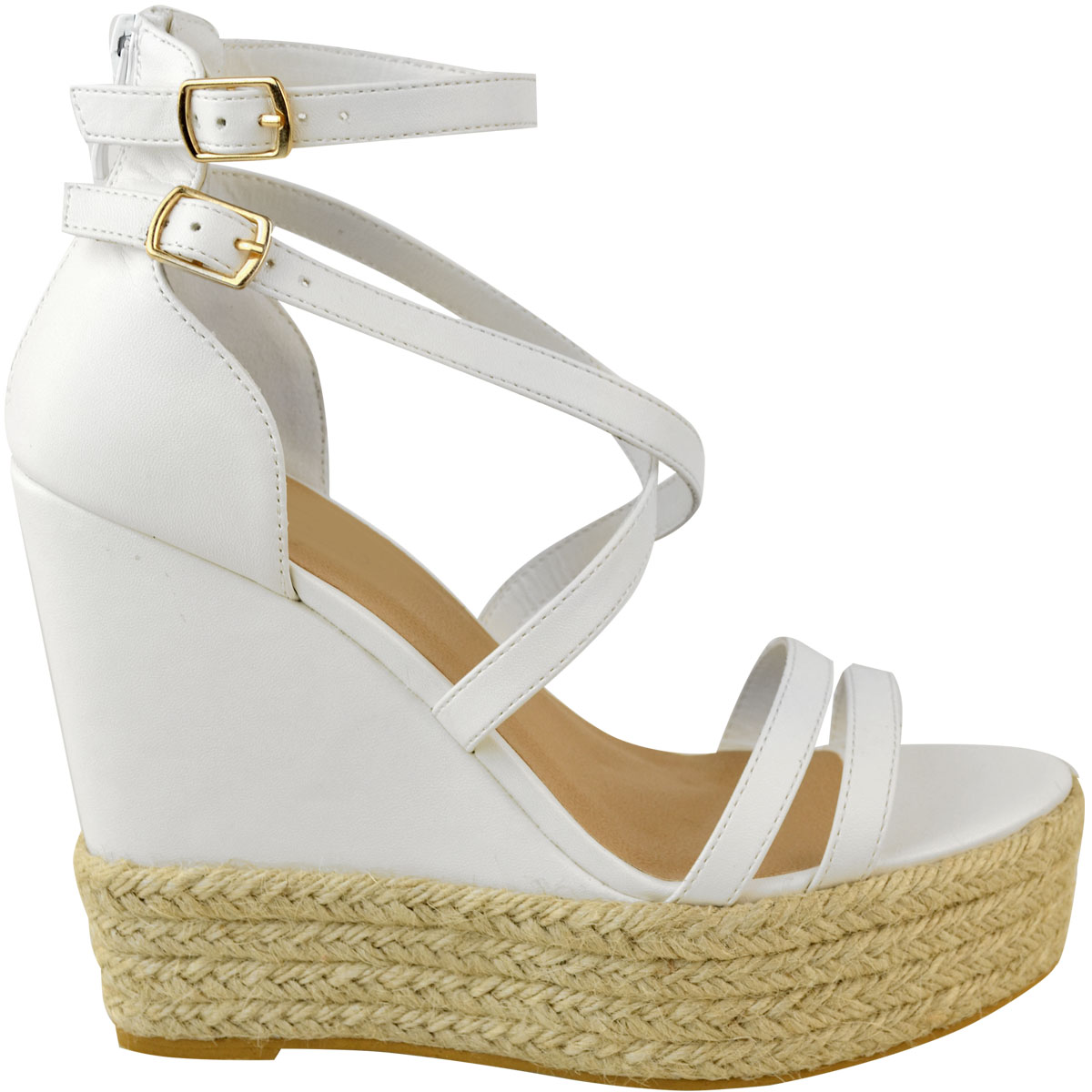 New-Womens-Ladies-Wedge-Espadrille-Sandals-Strappy-Rose-Gold-Summer-Shoes-Size thumbnail 14