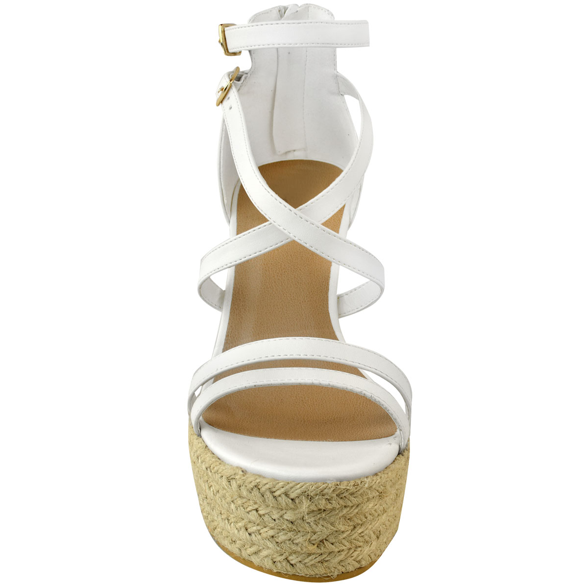 New-Womens-Ladies-Wedge-Espadrille-Sandals-Strappy-Rose-Gold-Summer-Shoes-Size thumbnail 16