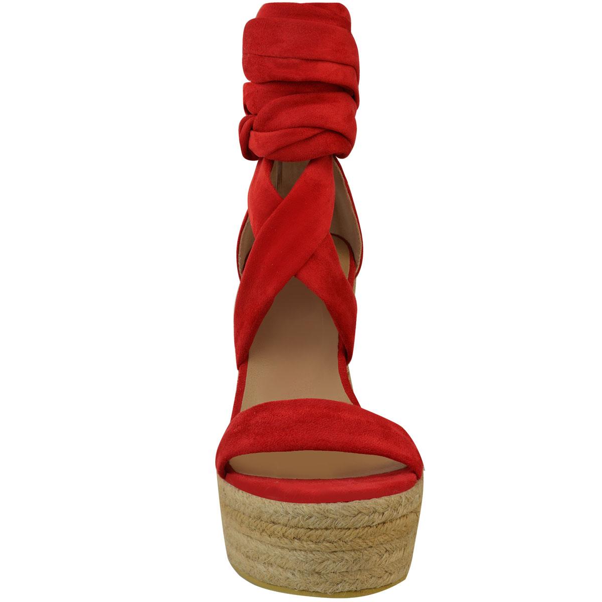 Zeppa-Tacco-Alto-Sandali-Estivi-Donna-Espadrillas-Platfrom-Caviglia-pizzo-cravatta