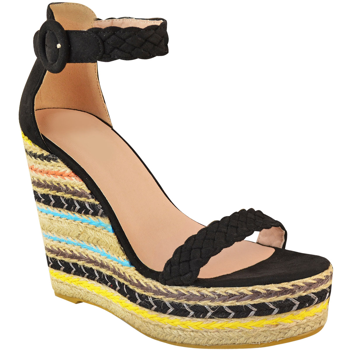 Womens-Ladies-Black-Wedge-Platforms-Sandals-High-Heels-Party-Summer-Shoes-Size thumbnail 3