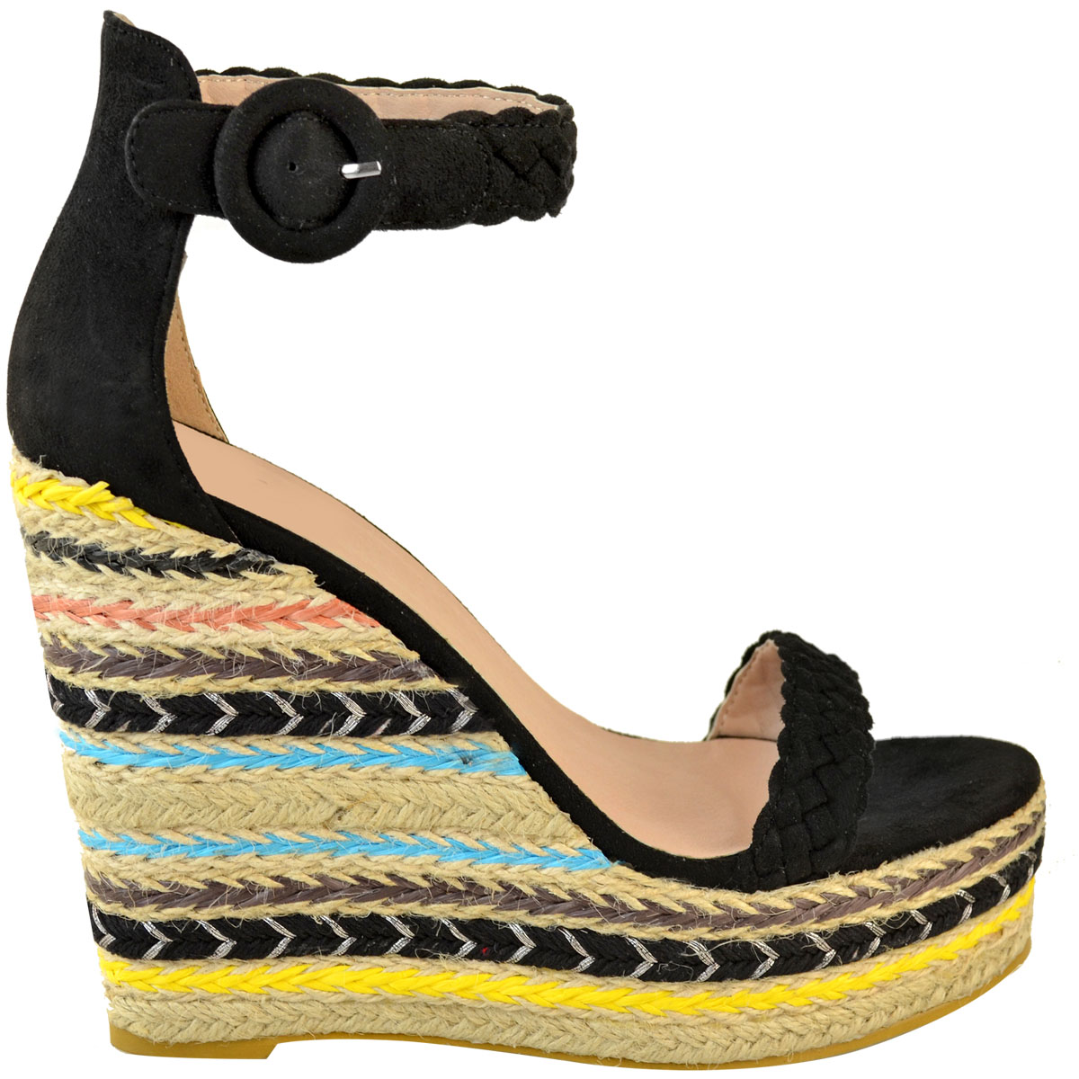Womens-Ladies-Black-Wedge-Platforms-Sandals-High-Heels-Party-Summer-Shoes-Size thumbnail 4