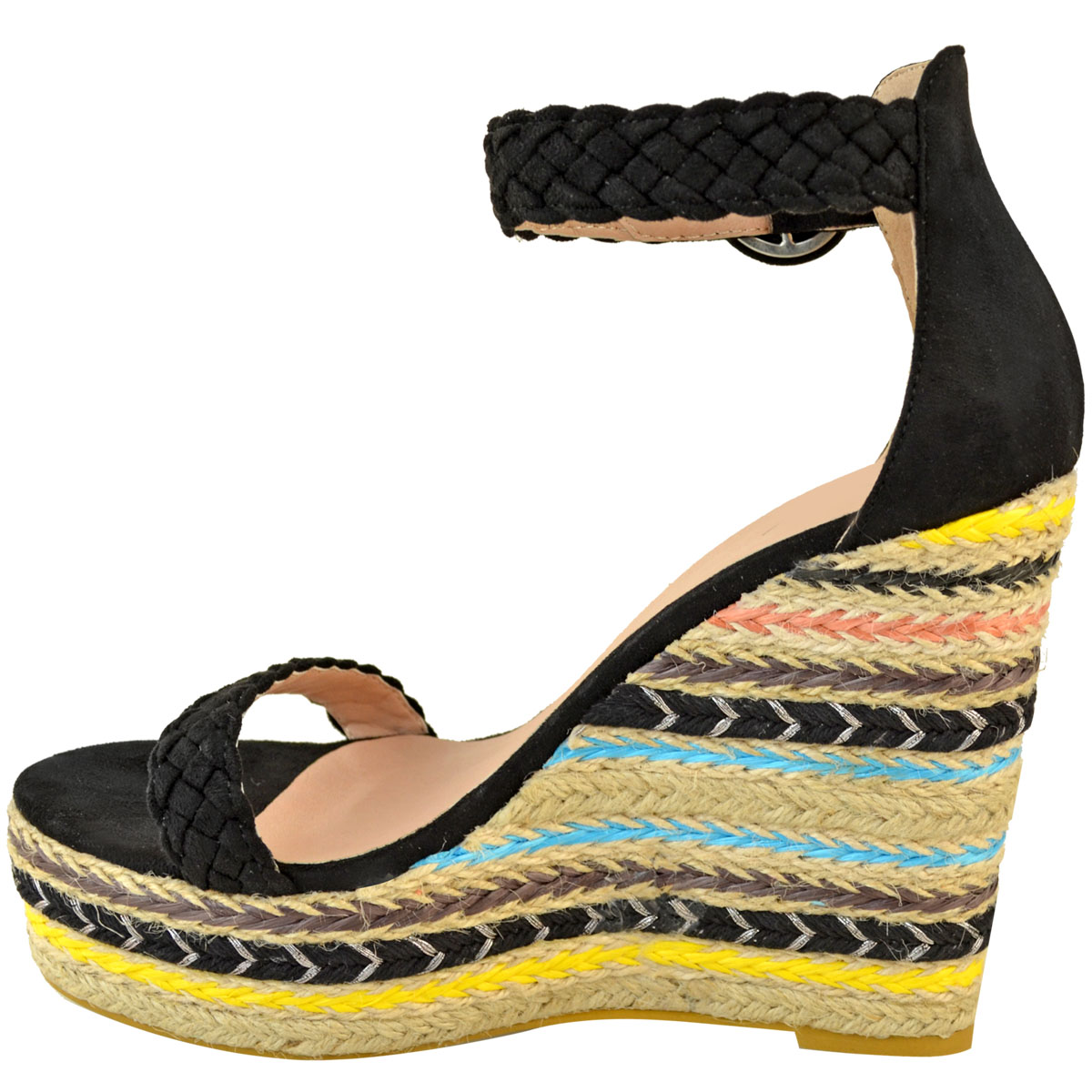 Womens-Ladies-Black-Wedge-Platforms-Sandals-High-Heels-Party-Summer-Shoes-Size thumbnail 5
