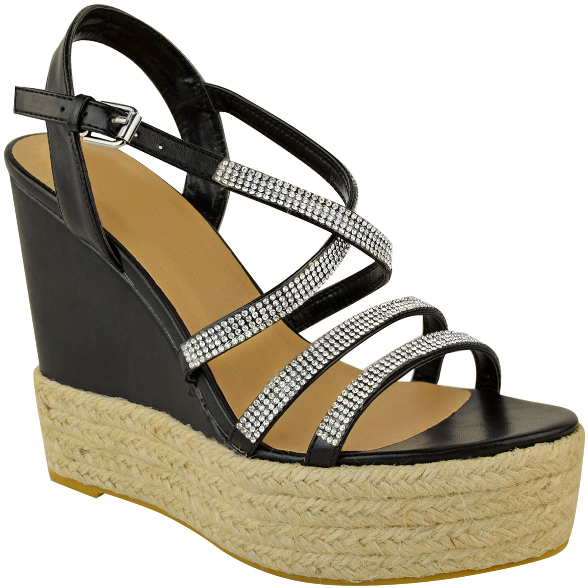 Womens-Ladies-Strappy-Diamante-Wedge-High-Heels-Sandals-Platforms-Shoes-Size-UK thumbnail 3