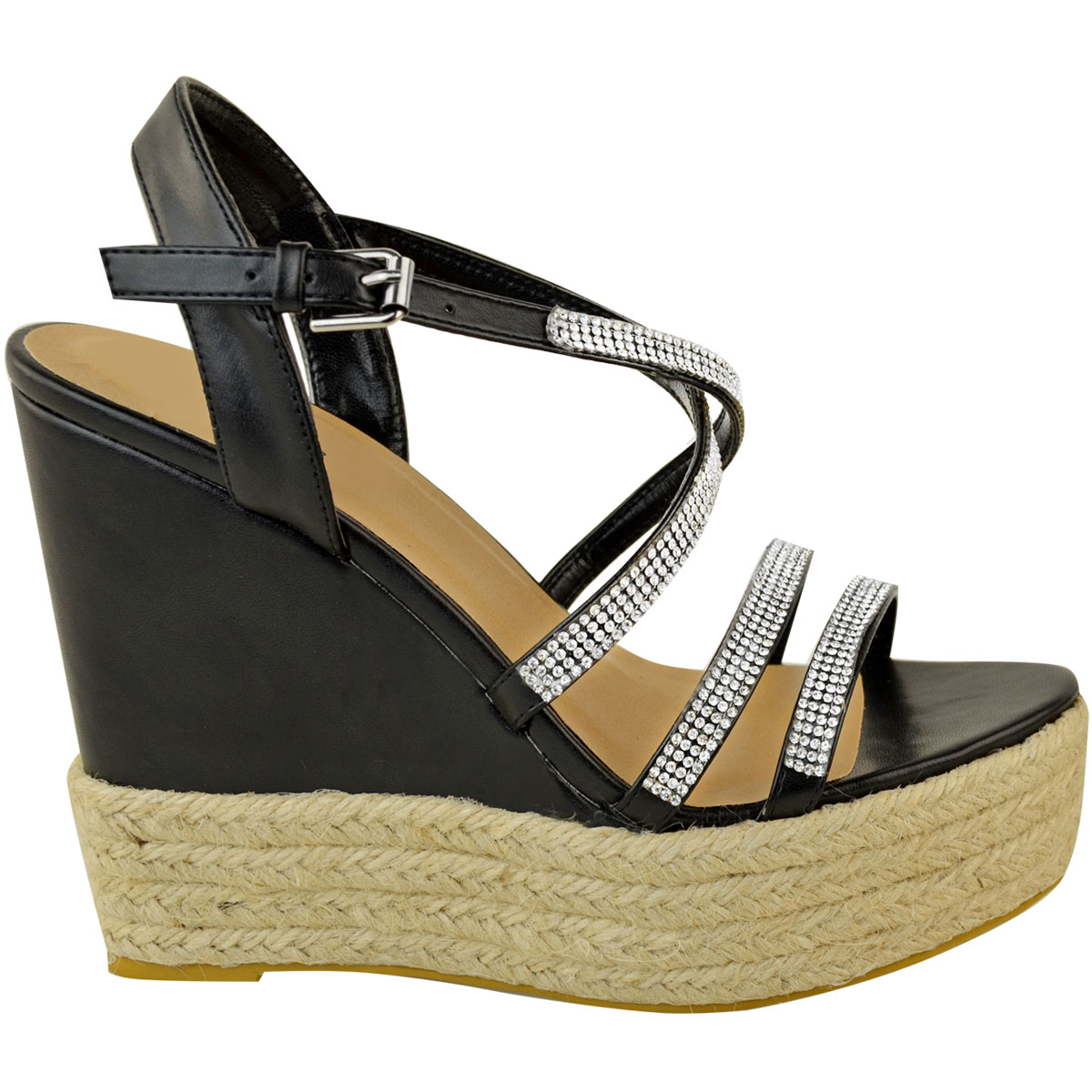 Womens-Ladies-Strappy-Diamante-Wedge-High-Heels-Sandals-Platforms-Shoes-Size-UK thumbnail 4