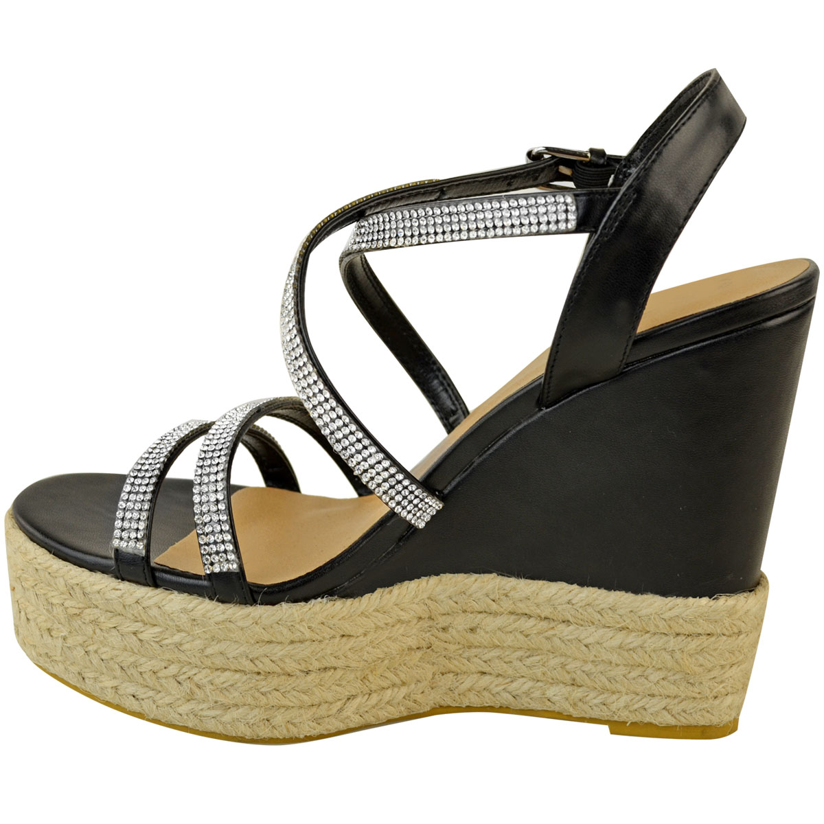Womens-Ladies-Strappy-Diamante-Wedge-High-Heels-Sandals-Platforms-Shoes-Size-UK thumbnail 5