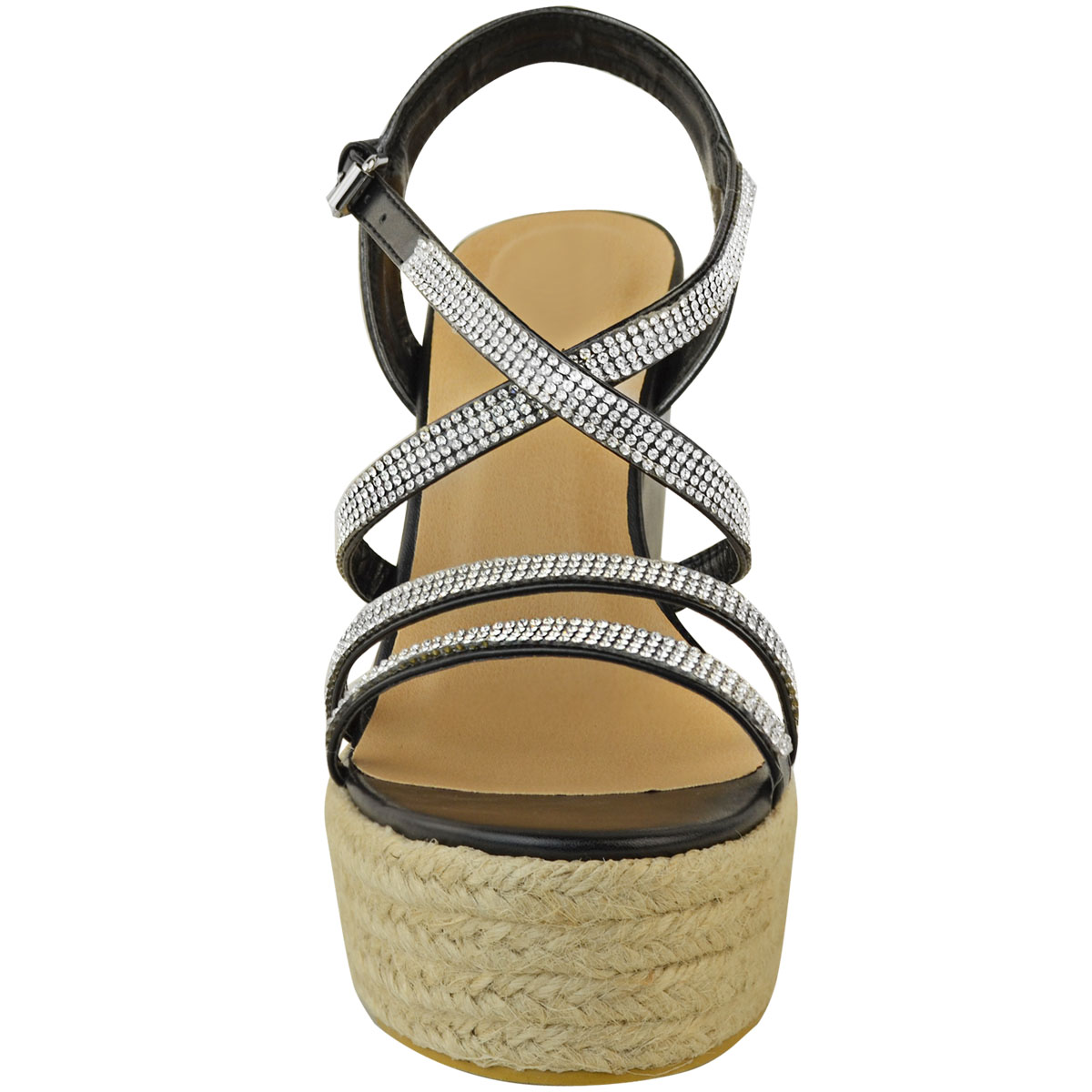 Womens-Ladies-Strappy-Diamante-Wedge-High-Heels-Sandals-Platforms-Shoes-Size-UK thumbnail 6