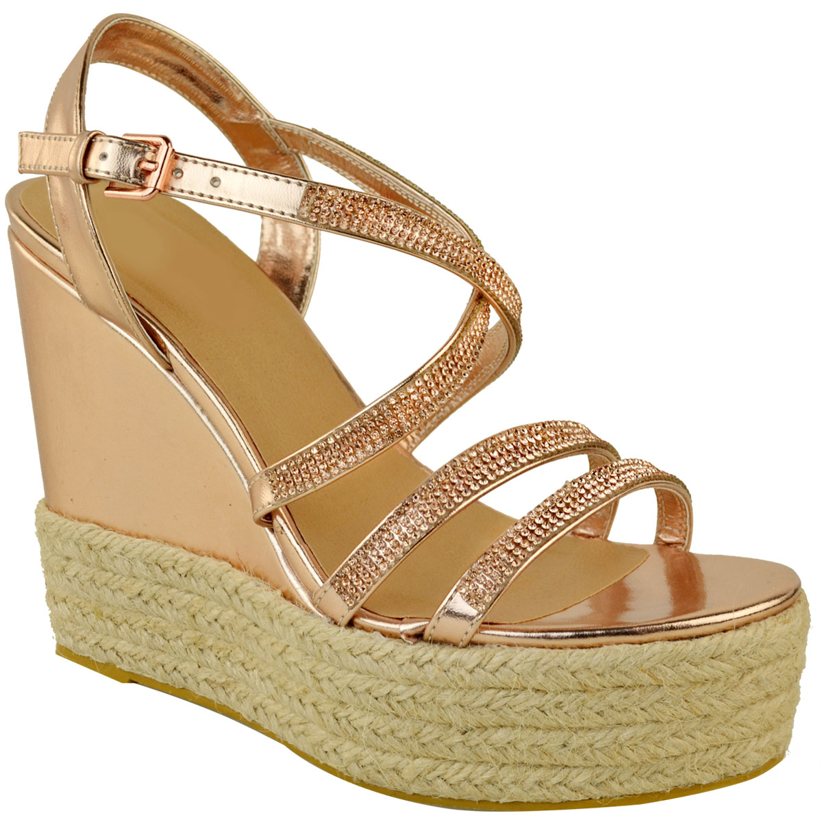 Womens-Ladies-Strappy-Diamante-Wedge-High-Heels-Sandals-Platforms-Shoes-Size-UK thumbnail 13
