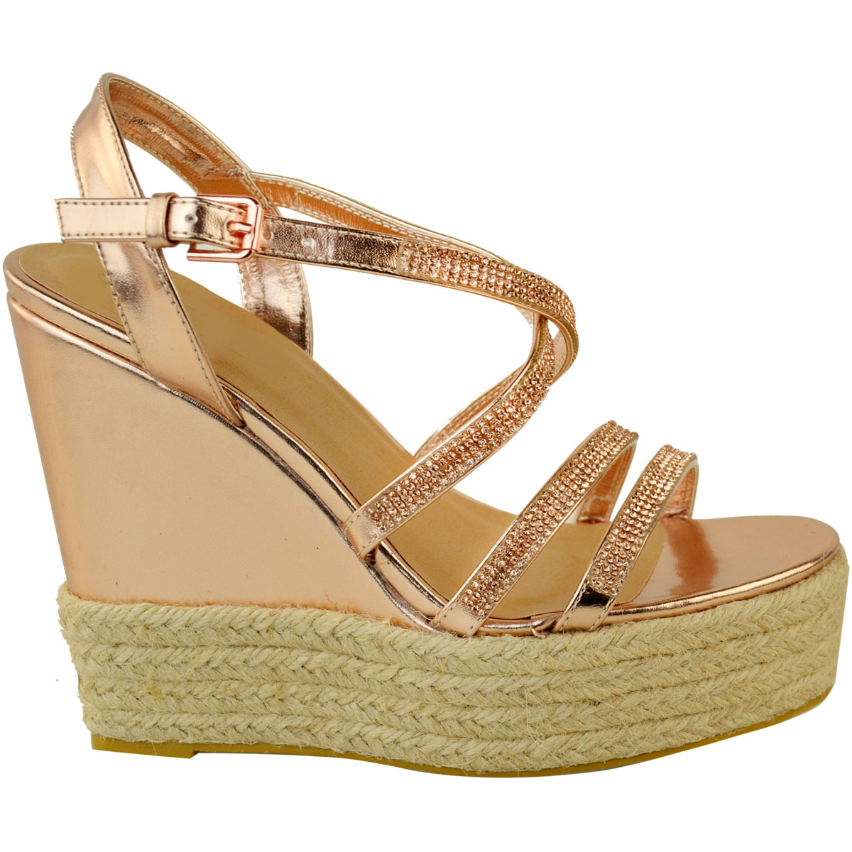 Womens-Ladies-Strappy-Diamante-Wedge-High-Heels-Sandals-Platforms-Shoes-Size-UK thumbnail 14