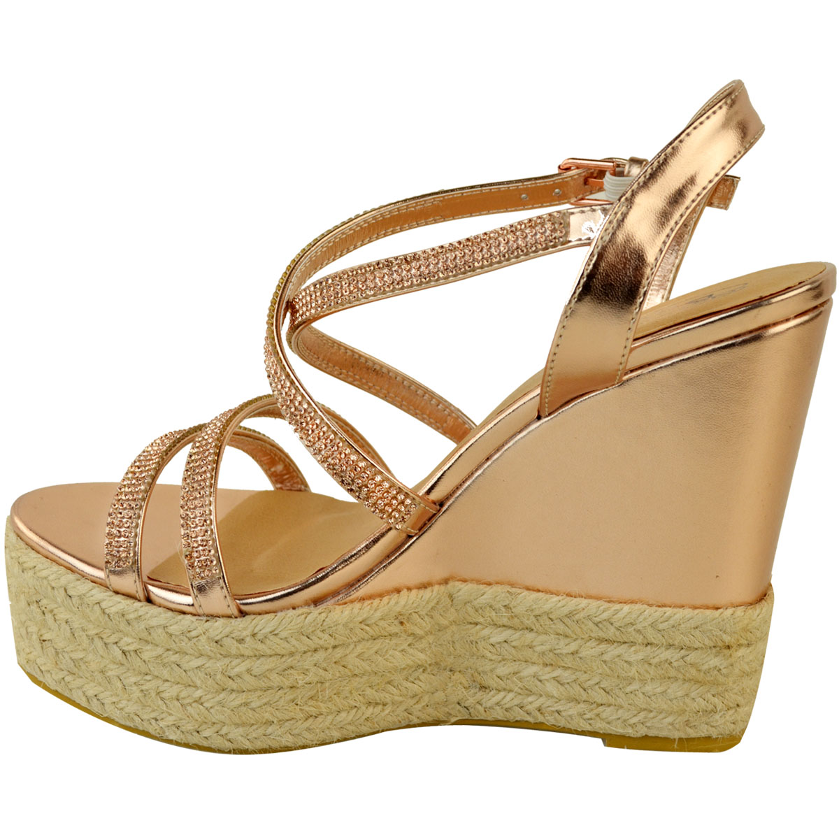 Womens-Ladies-Strappy-Diamante-Wedge-High-Heels-Sandals-Platforms-Shoes-Size-UK thumbnail 15