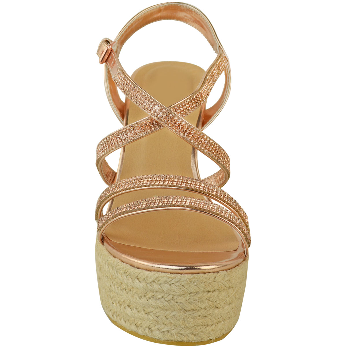 Womens-Ladies-Strappy-Diamante-Wedge-High-Heels-Sandals-Platforms-Shoes-Size-UK thumbnail 16