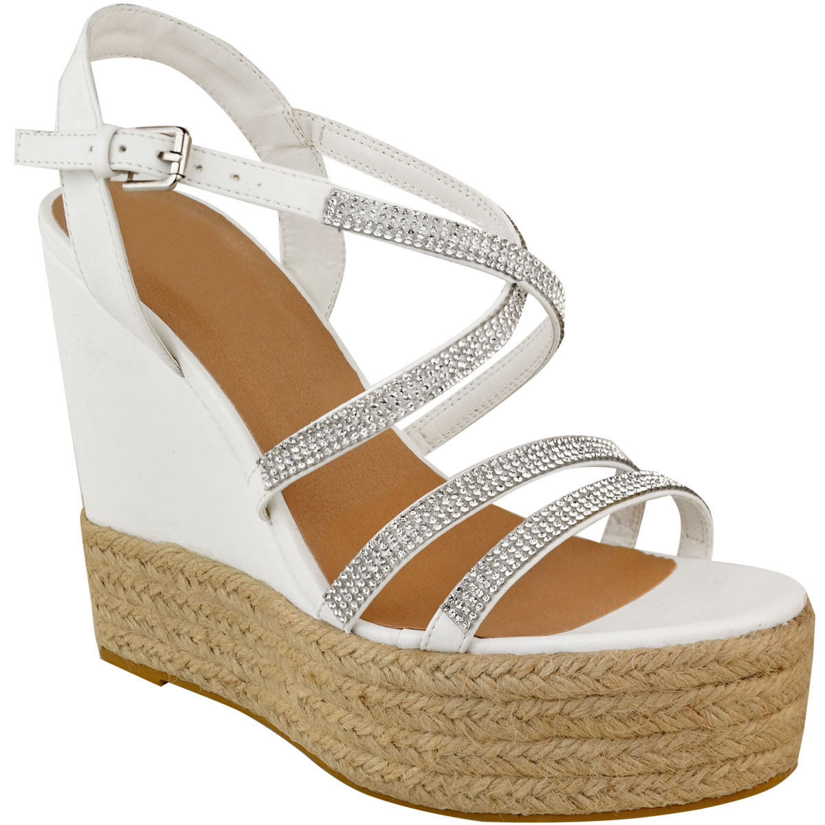 Womens-Ladies-Strappy-Diamante-Wedge-High-Heels-Sandals-Platforms-Shoes-Size-UK thumbnail 8