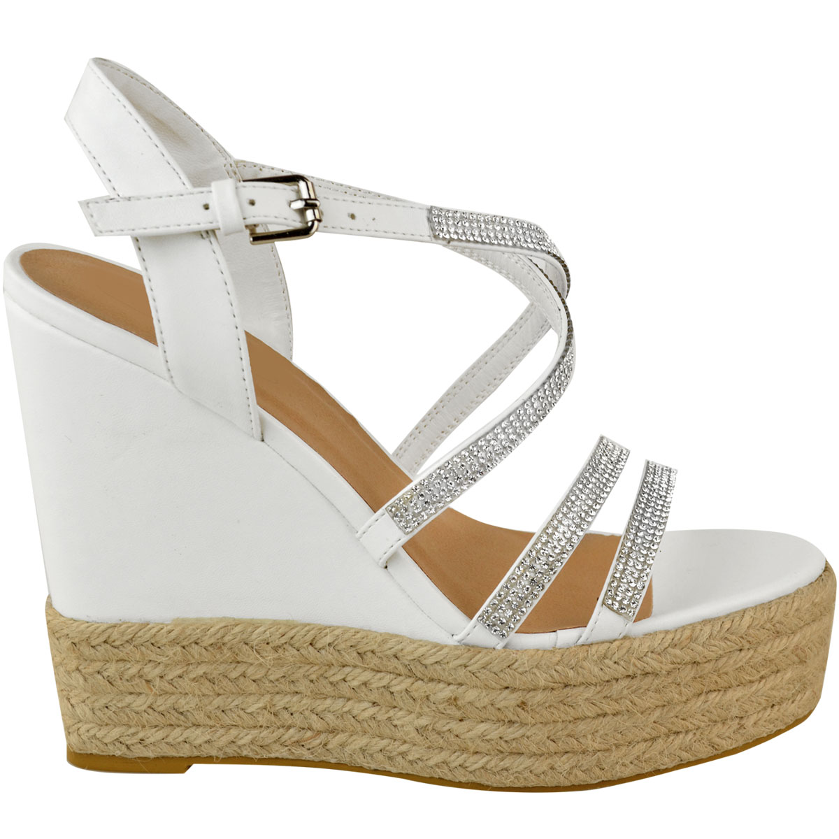 Womens-Ladies-Strappy-Diamante-Wedge-High-Heels-Sandals-Platforms-Shoes-Size-UK thumbnail 9