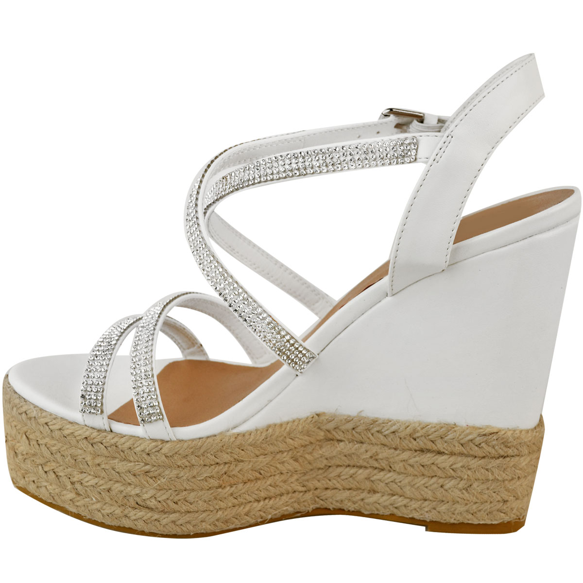 Womens-Ladies-Strappy-Diamante-Wedge-High-Heels-Sandals-Platforms-Shoes-Size-UK thumbnail 10