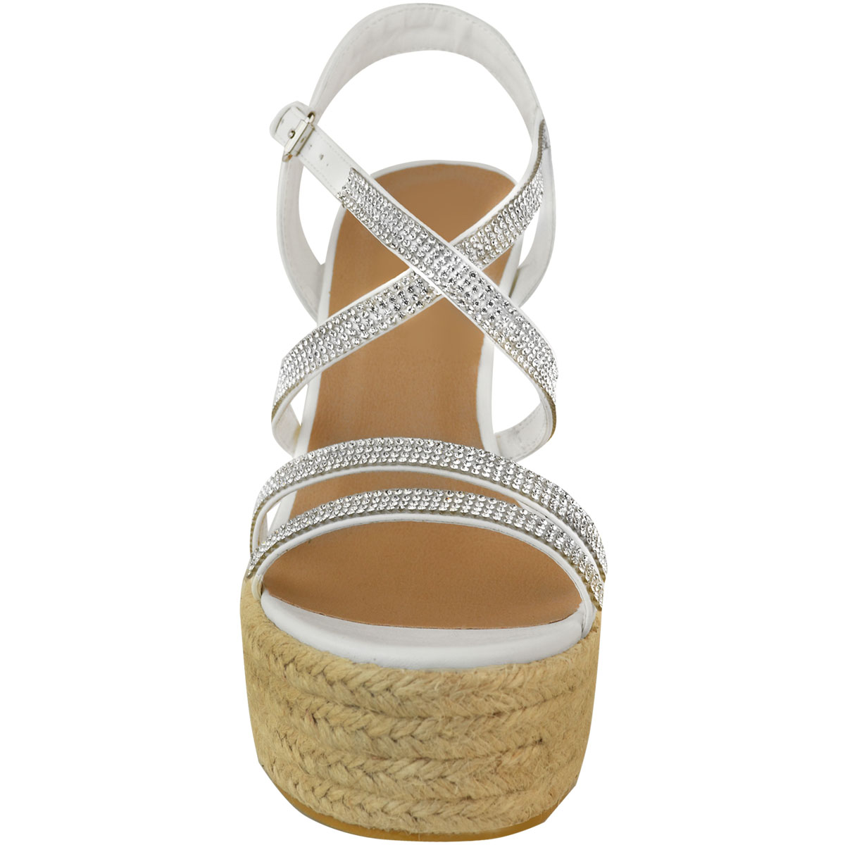 Womens-Ladies-Strappy-Diamante-Wedge-High-Heels-Sandals-Platforms-Shoes-Size-UK thumbnail 11