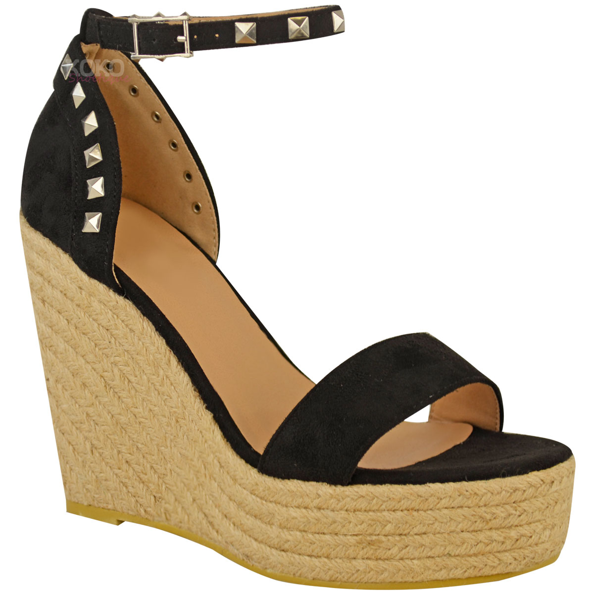 Details about Womens Ladies Studded Esapdrille Wedges High Heel Sandals Summer Platforms Size