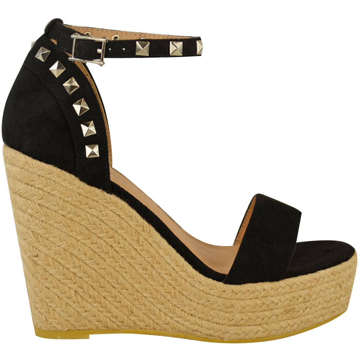 New-Womens-Stud-Espadrille-Wedge-Summer-Sandal-Ladies-Rose-Gold-Party-Shoes-Size thumbnail 3