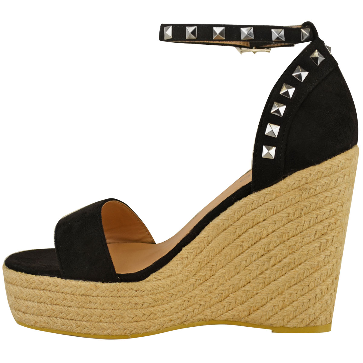 New-Womens-Stud-Espadrille-Wedge-Summer-Sandal-Ladies-Rose-Gold-Party-Shoes-Size thumbnail 4