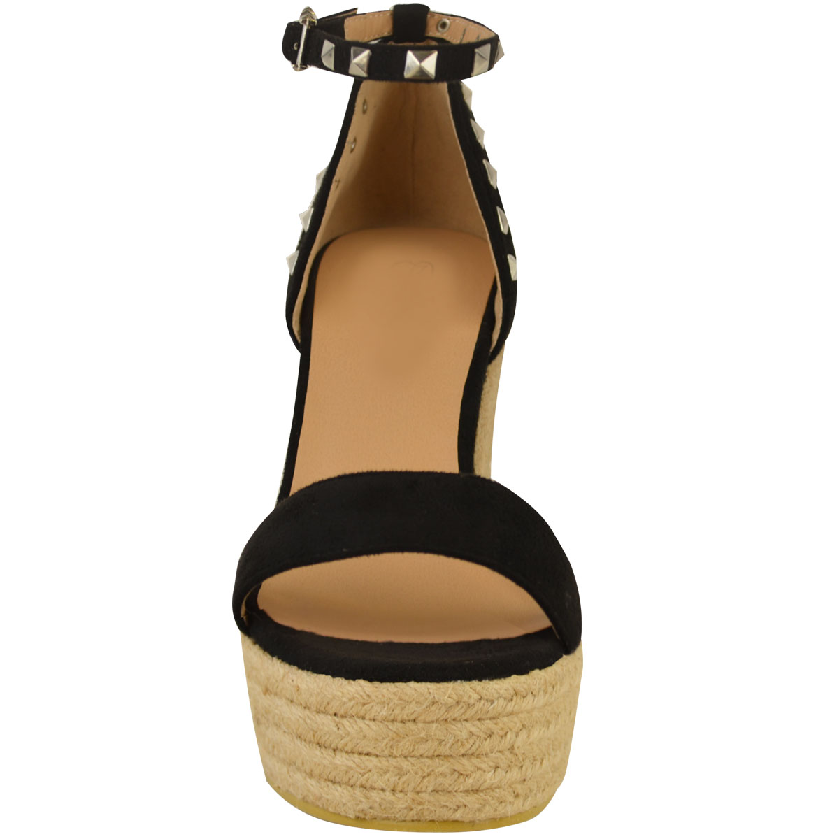 New-Womens-Stud-Espadrille-Wedge-Summer-Sandal-Ladies-Rose-Gold-Party-Shoes-Size thumbnail 5