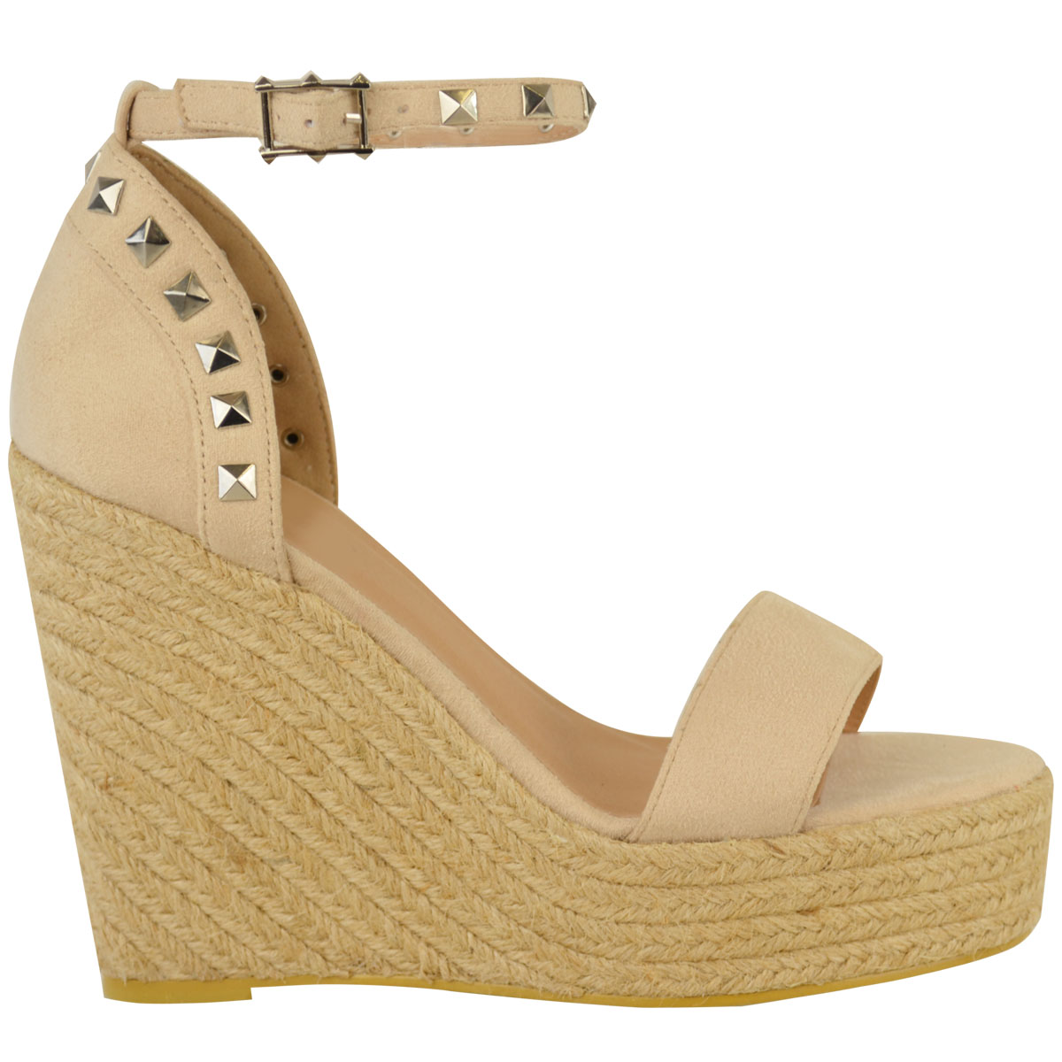 New-Womens-Stud-Espadrille-Wedge-Summer-Sandal-Ladies-Rose-Gold-Party-Shoes-Size thumbnail 11