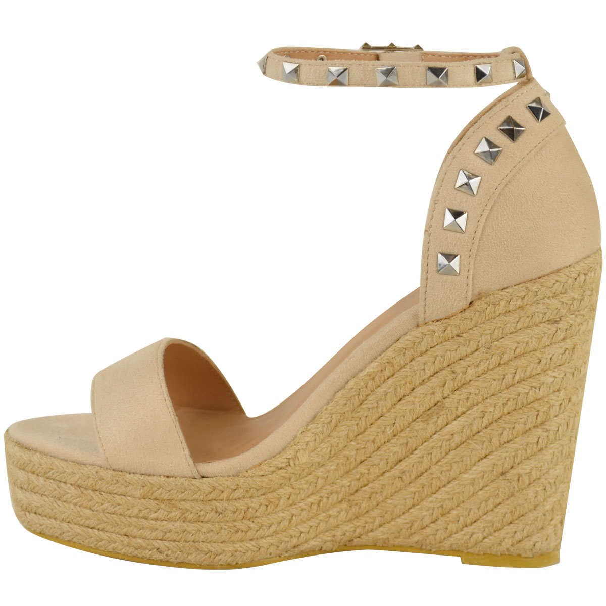 New-Womens-Stud-Espadrille-Wedge-Summer-Sandal-Ladies-Rose-Gold-Party-Shoes-Size thumbnail 12