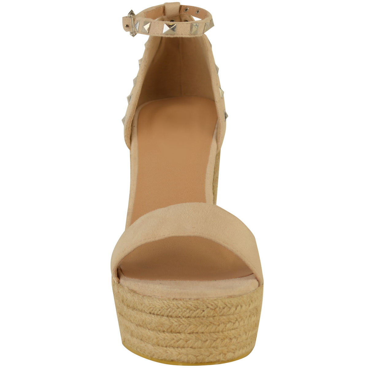 New-Womens-Stud-Espadrille-Wedge-Summer-Sandal-Ladies-Rose-Gold-Party-Shoes-Size thumbnail 13