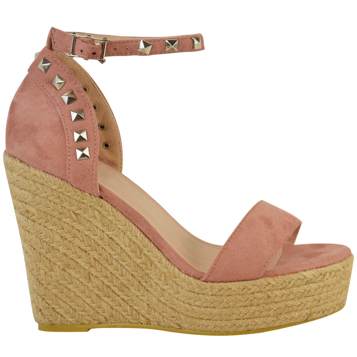New-Womens-Stud-Espadrille-Wedge-Summer-Sandal-Ladies-Rose-Gold-Party-Shoes-Size thumbnail 15