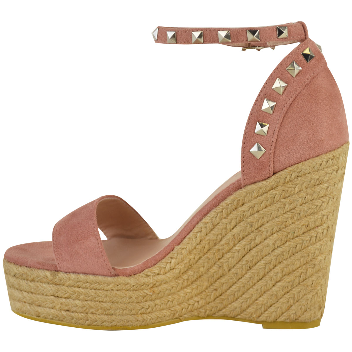 New-Womens-Stud-Espadrille-Wedge-Summer-Sandal-Ladies-Rose-Gold-Party-Shoes-Size thumbnail 16