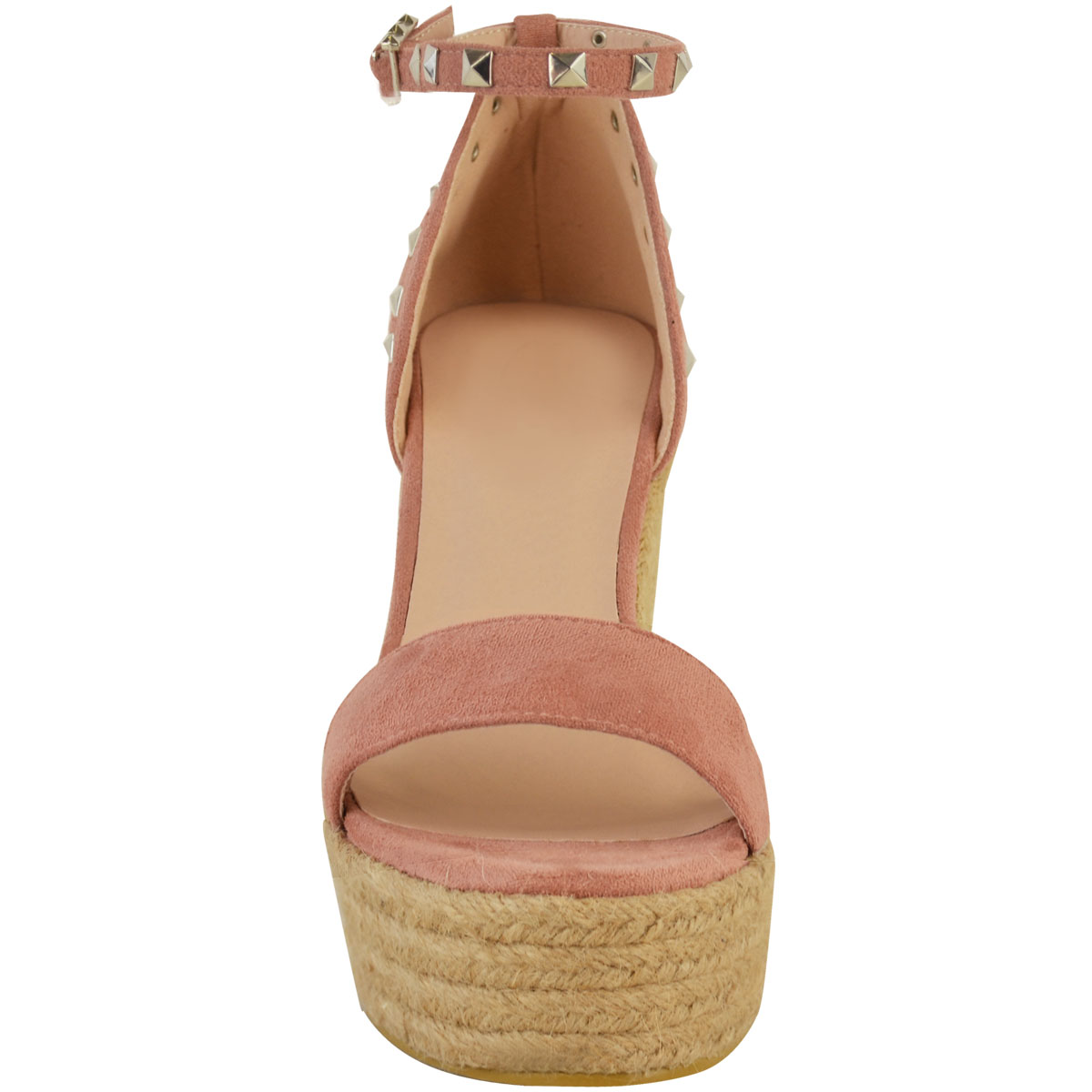 New-Womens-Stud-Espadrille-Wedge-Summer-Sandal-Ladies-Rose-Gold-Party-Shoes-Size thumbnail 17