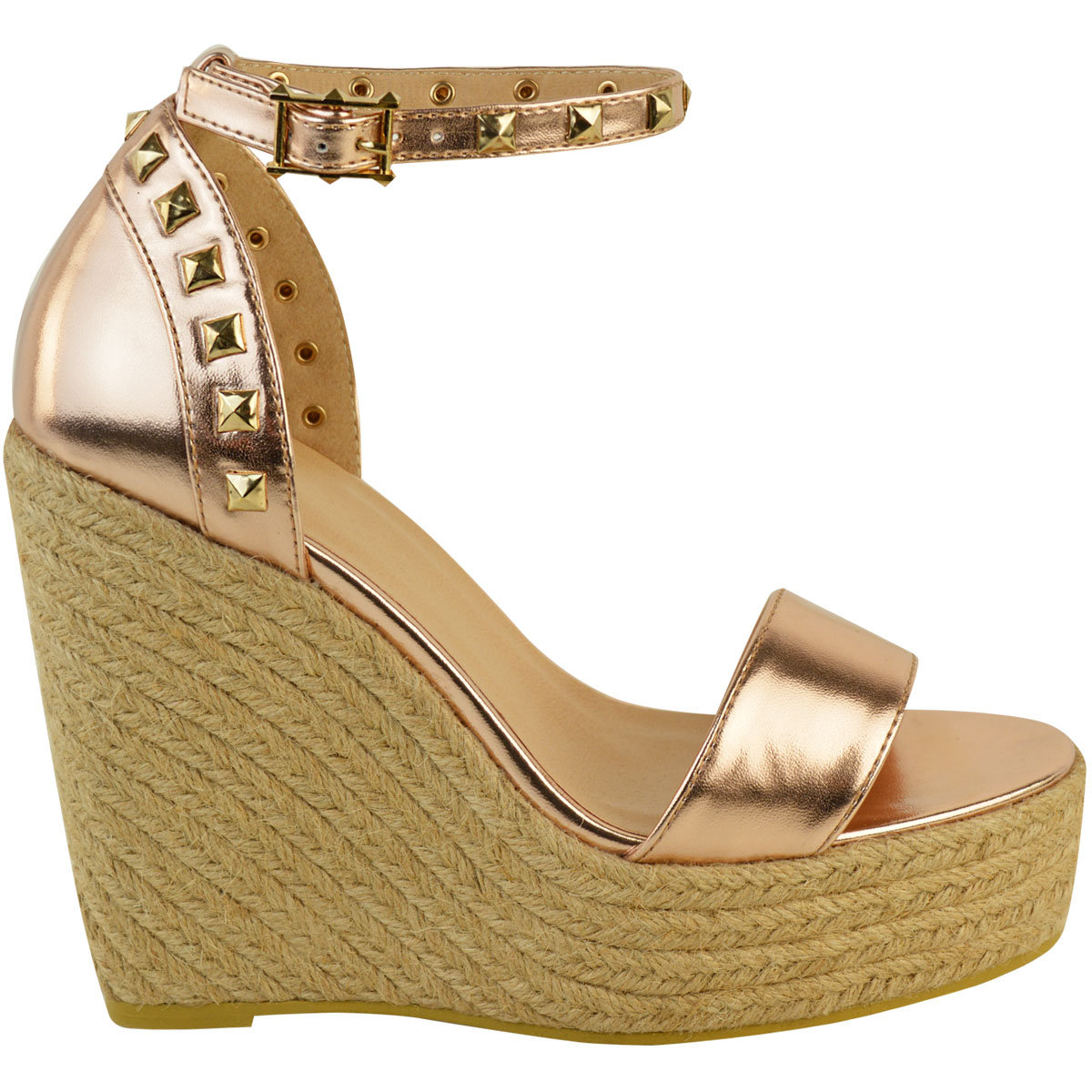 New-Womens-Stud-Espadrille-Wedge-Summer-Sandal-Ladies-Rose-Gold-Party-Shoes-Size thumbnail 7