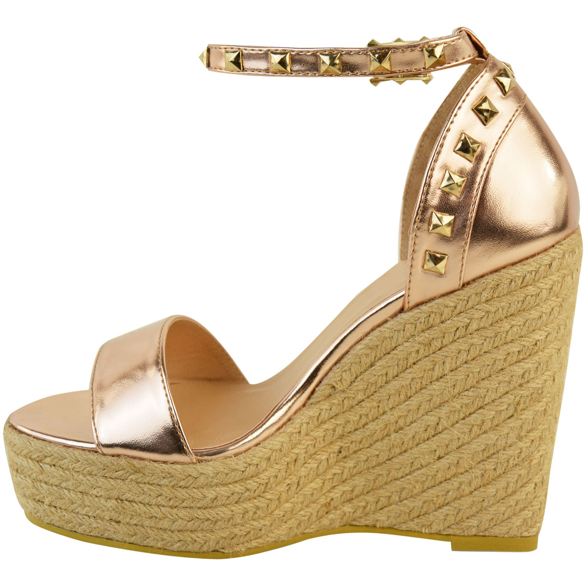 New-Womens-Stud-Espadrille-Wedge-Summer-Sandal-Ladies-Rose-Gold-Party-Shoes-Size thumbnail 8