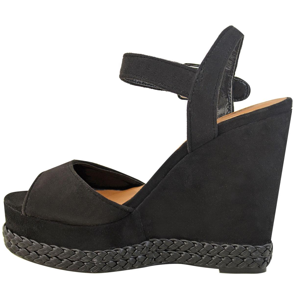 Bottines Femme Cloutées Talon Compensé Sandale Rock Espadrille Plateforme Été Fête Chaussures
