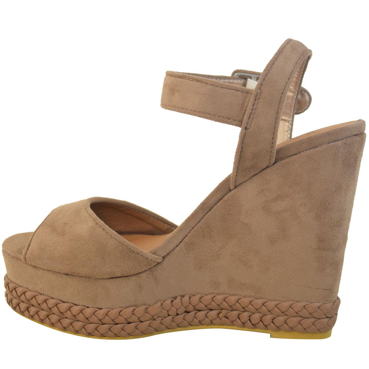 Womens Ladies Studded Wedge Sandal Rock Espadrille ...