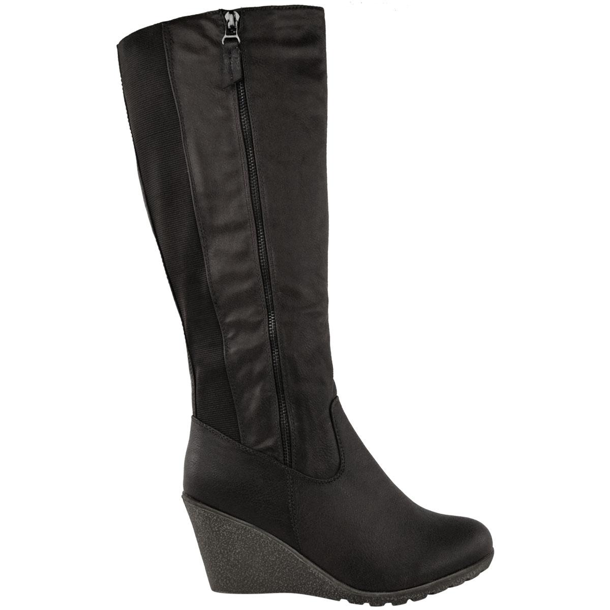 Womens-Ladies-Wedge-Low-Heel-Winter-Knee-Boots-Warm-Faux-Fur-Fleece-Size-UK thumbnail 13
