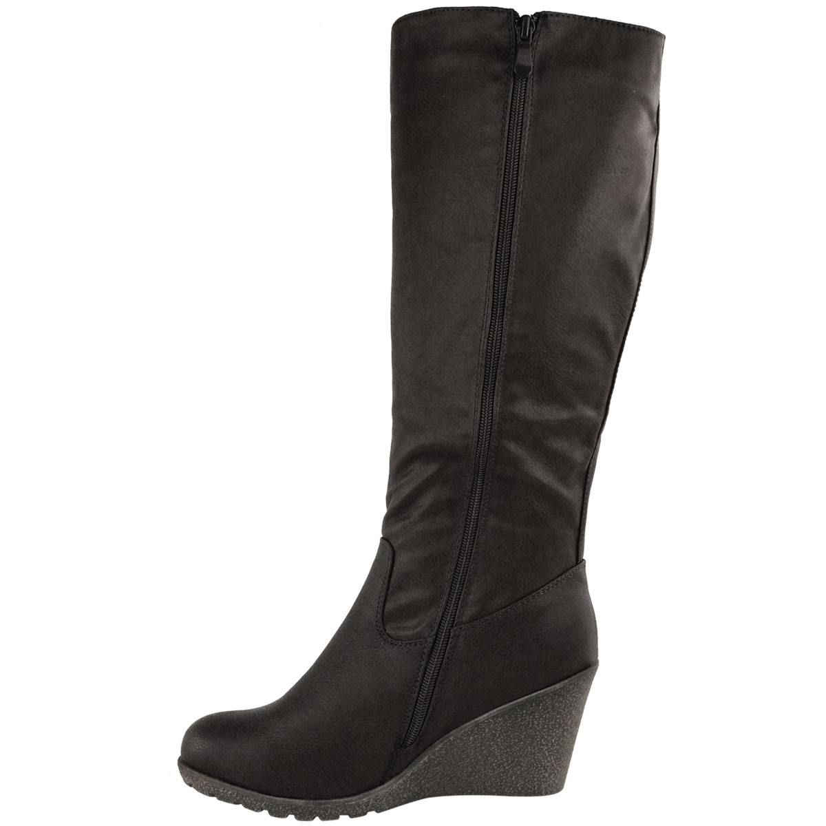 Womens-Ladies-Wedge-Low-Heel-Winter-Knee-Boots-Warm-Faux-Fur-Fleece-Size-UK thumbnail 14