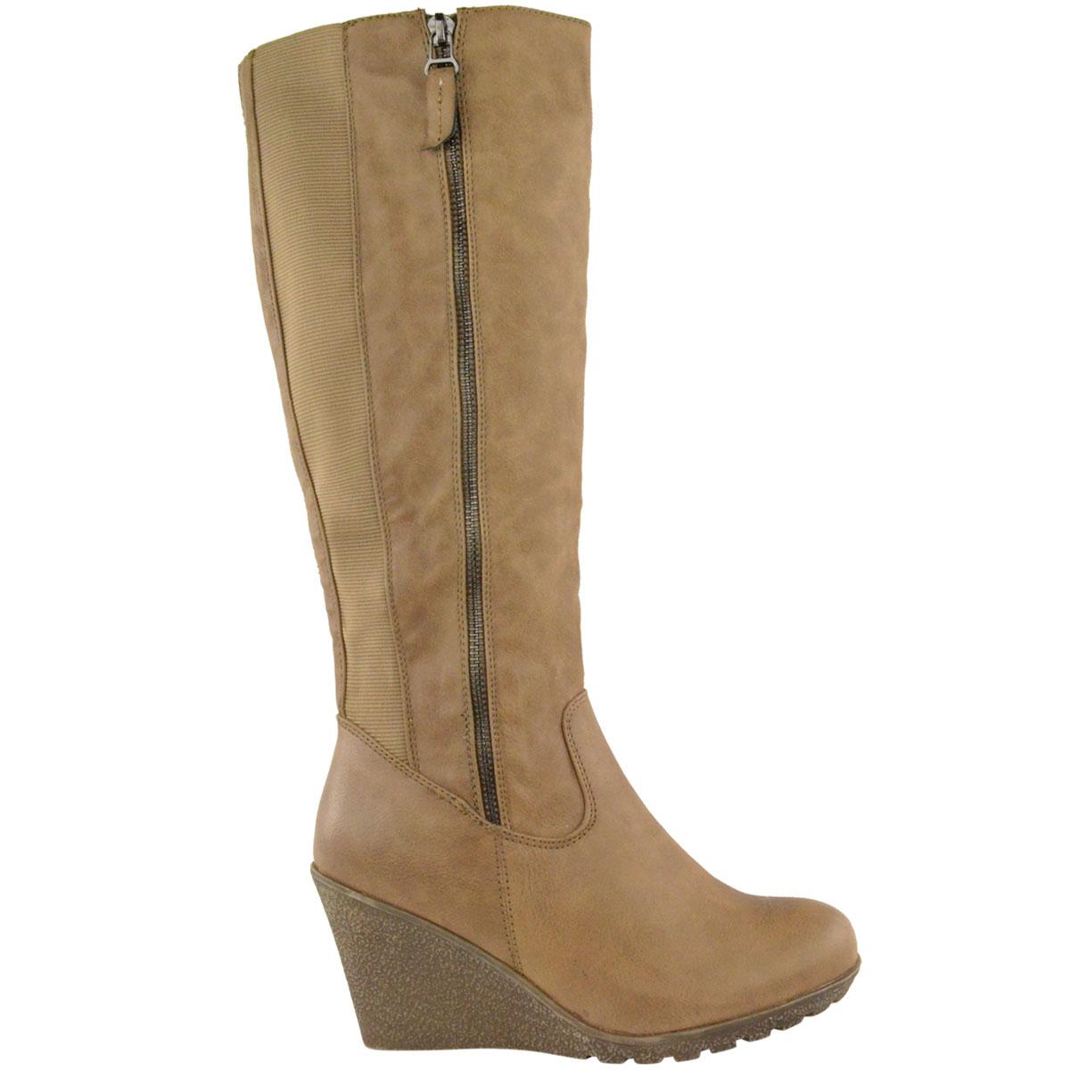 Womens-Ladies-Wedge-Low-Heel-Winter-Knee-Boots-Warm-Faux-Fur-Fleece-Size-UK thumbnail 17