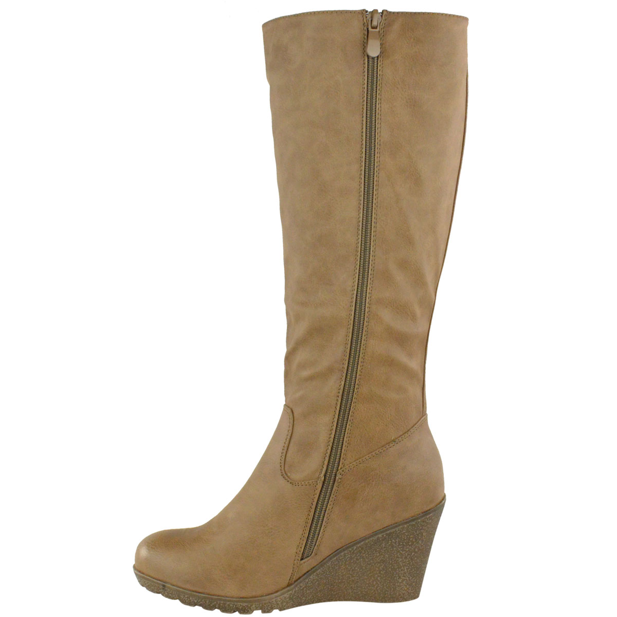 Womens-Ladies-Wedge-Low-Heel-Winter-Knee-Boots-Warm-Faux-Fur-Fleece-Size-UK thumbnail 18