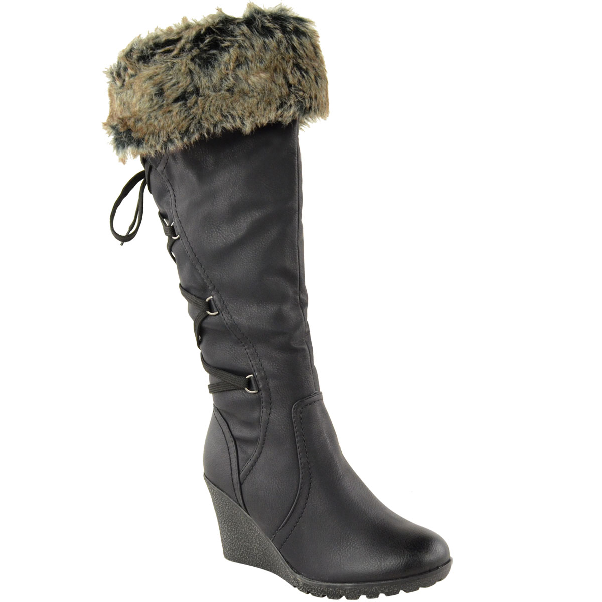 WOMENS-LADIES-MID-WEDGE-HIGH-HEEL-FUR-LINED-WARM-WINTER-KNEE-CALF-ZIP-BOOTS-SIZE thumbnail 3