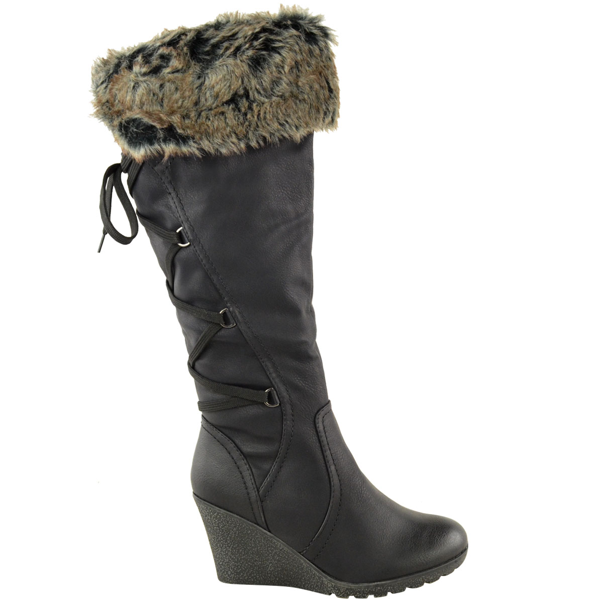 WOMENS-LADIES-MID-WEDGE-HIGH-HEEL-FUR-LINED-WARM-WINTER-KNEE-CALF-ZIP-BOOTS-SIZE thumbnail 4