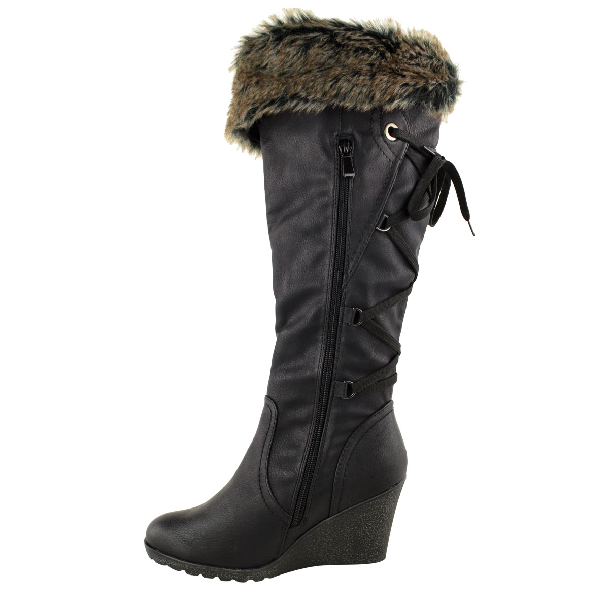 WOMENS-LADIES-MID-WEDGE-HIGH-HEEL-FUR-LINED-WARM-WINTER-KNEE-CALF-ZIP-BOOTS-SIZE thumbnail 5