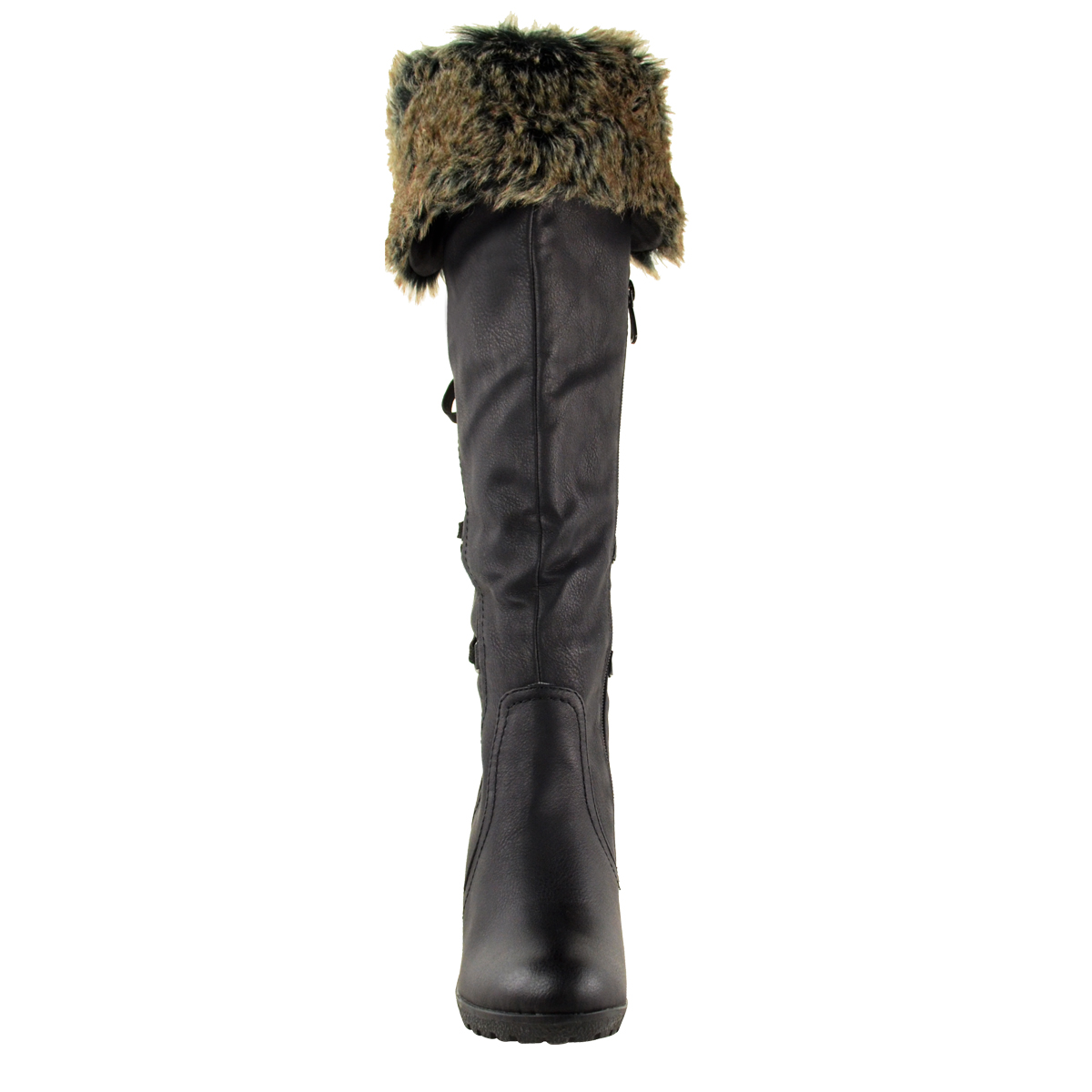 674fa24e5c8 Details about WOMENS LADIES MID WEDGE HIGH HEEL FUR LINED WARM WINTER KNEE  CALF ZIP BOOTS SIZE