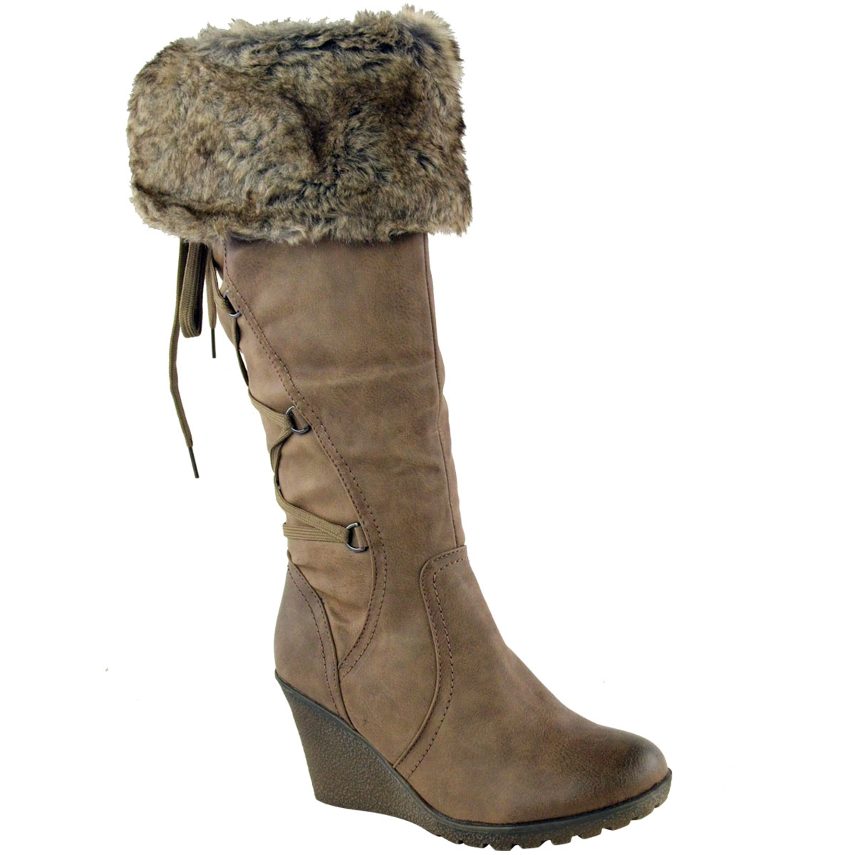 WOMENS-LADIES-MID-WEDGE-HIGH-HEEL-FUR-LINED-WARM-WINTER-KNEE-CALF-ZIP-BOOTS-SIZE thumbnail 11
