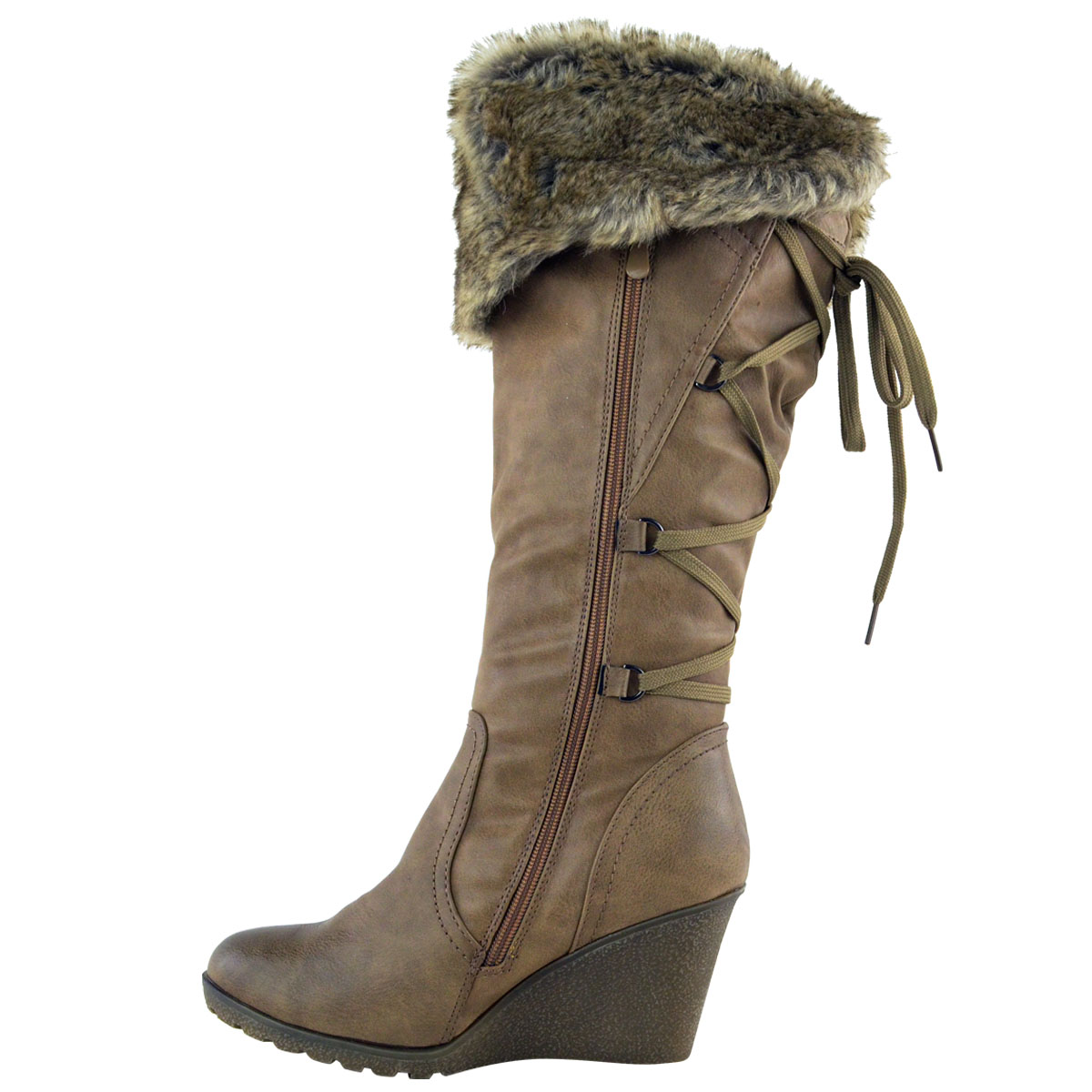 WOMENS-LADIES-MID-WEDGE-HIGH-HEEL-FUR-LINED-WARM-WINTER-KNEE-CALF-ZIP-BOOTS-SIZE thumbnail 12
